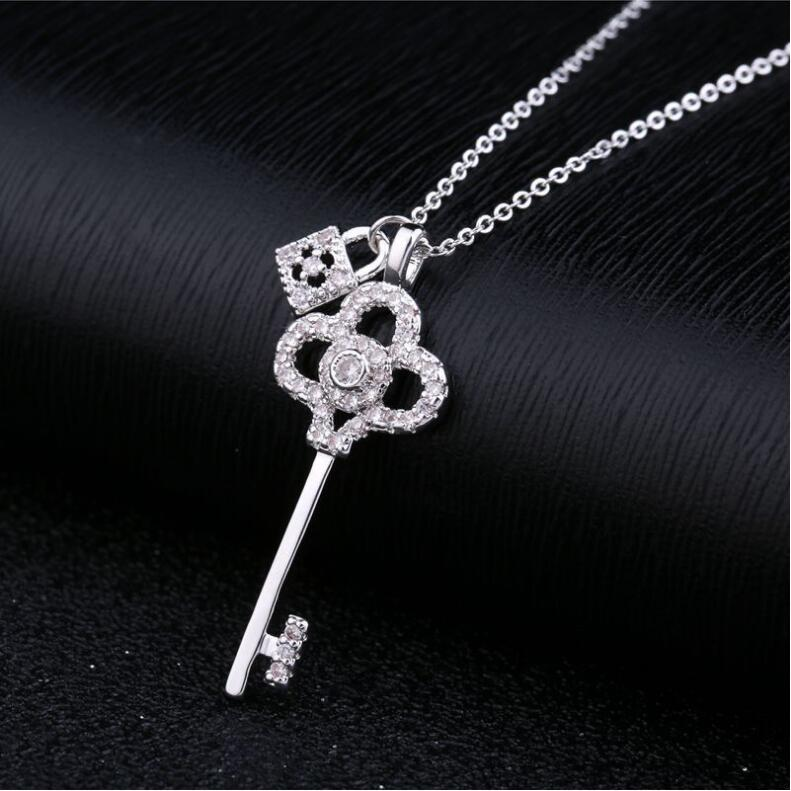 LZX Brand Key Lock Design Choker Necklace White/Rose Gold Color Cubic Zirconia Crystal Necklaces & Pendants For Women Jewelry