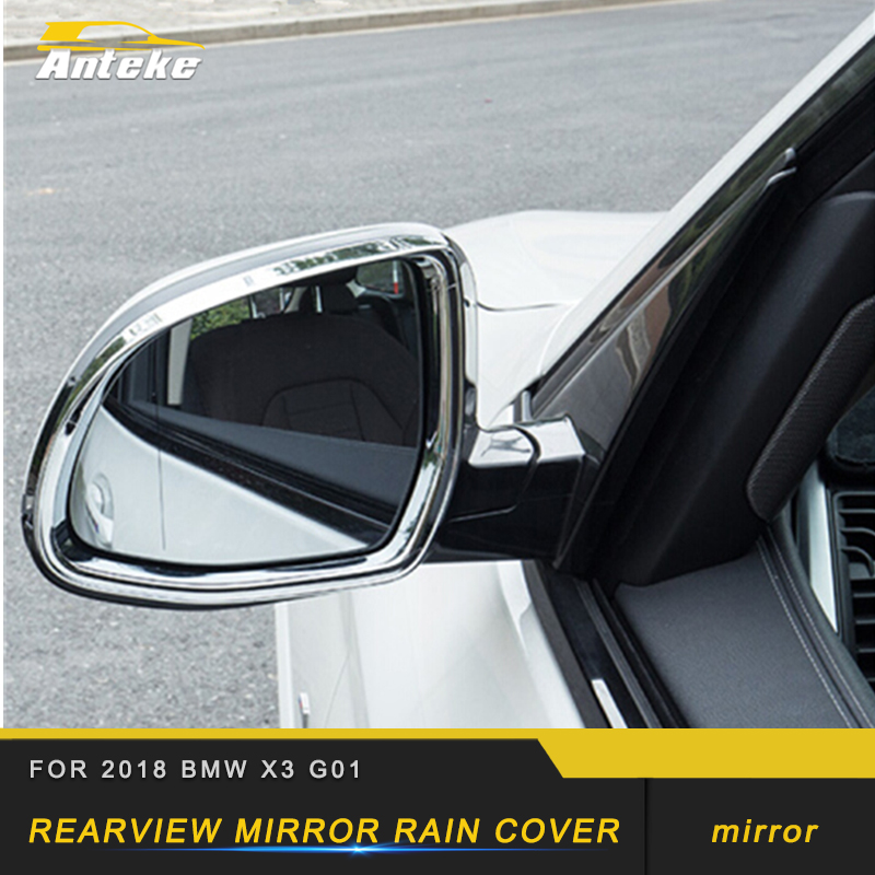 For 2018 <font><b>BMW</b></font> <font><b>X3</b></font> <font><b>G01</b></font> X4 G02 Chrome Car Rearview Side <font><b>Mirror</b></font> <font><b>Cover</b></font> Rain Shade Snow Guard Sun Visor Trim Frame Stickers Protector image