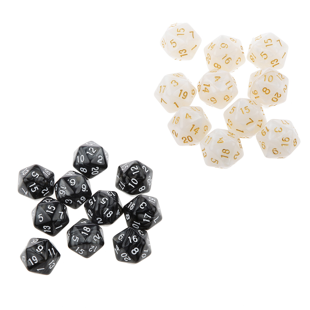 20pcs Polyhedral D10 D20 Dice 10mm For Dungeons And Dragons Gaming Toy Black&White