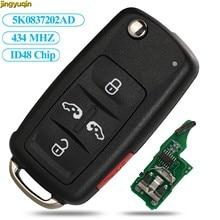 Jingyuqin جهاز تحكم عن بعد في مفتاح السيارة 434 ميجا هرتز ID48 For VW Volkswagen شاران Multivan كارافيل 5K0837202AD 5 أزرار