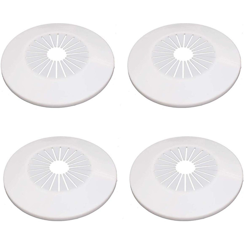 4/6pcs Round Faucet Cover Plate Plastic Decorative Cover Wall Hole Duct Pipe Cover For Angle Valve Water Pipe Drain Line Covers