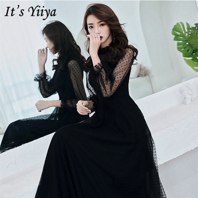 It's YiiYa Evening Dress 2019 Summer Slim Elegant Long Sleeve Lace Formal Dresses Fashion O-neck Women Party Gown Plus Size E016