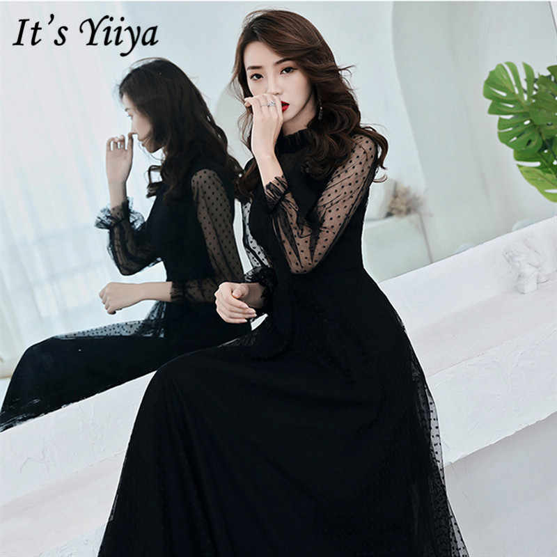 It's YiiYa Evening Dress 2019 Summer Slim Elegant Long Sleeve Lace Formal Dresses Fashion O-neck Women Party Gown Plus Size E016