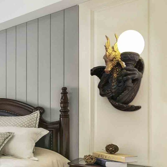 Hotel room corridor corridor resin led wall lamp dragon animal wall lamp simple modern wall lamp