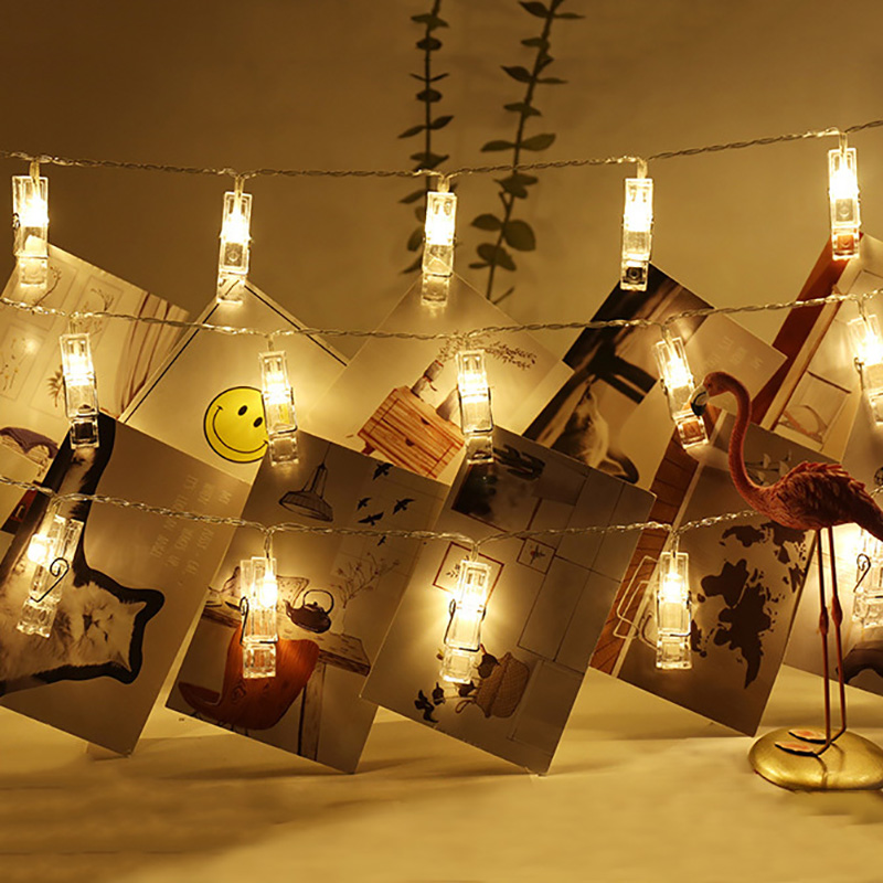 10/20/30/40/50 LED Garland Card Photo Clip Led String Fairy Lights Battery Operated Christmas Garlands New Year Decoration