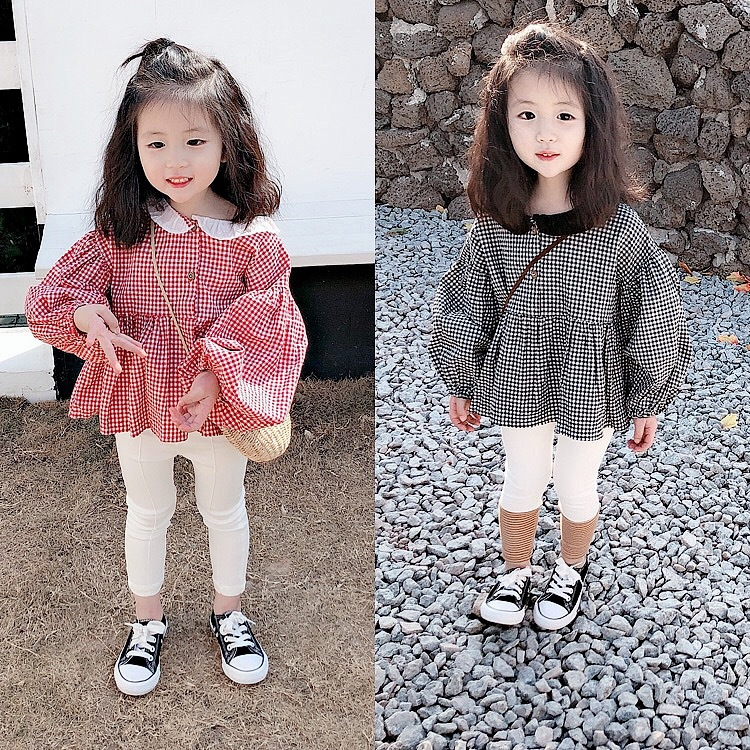 Yu. Kids Girls Autumn Korean-style Peter Pan Collar Plaid Shirt Baby Lantern Sleeve Western Style GIRL'S Shirt