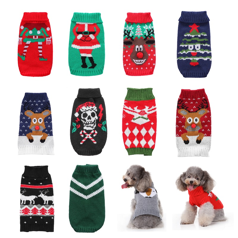Pet Dog Sweater Cat Clothes For Small Clothing Christmas Dogs Coat Halloween Warm Jacket Knitting Costume 35
