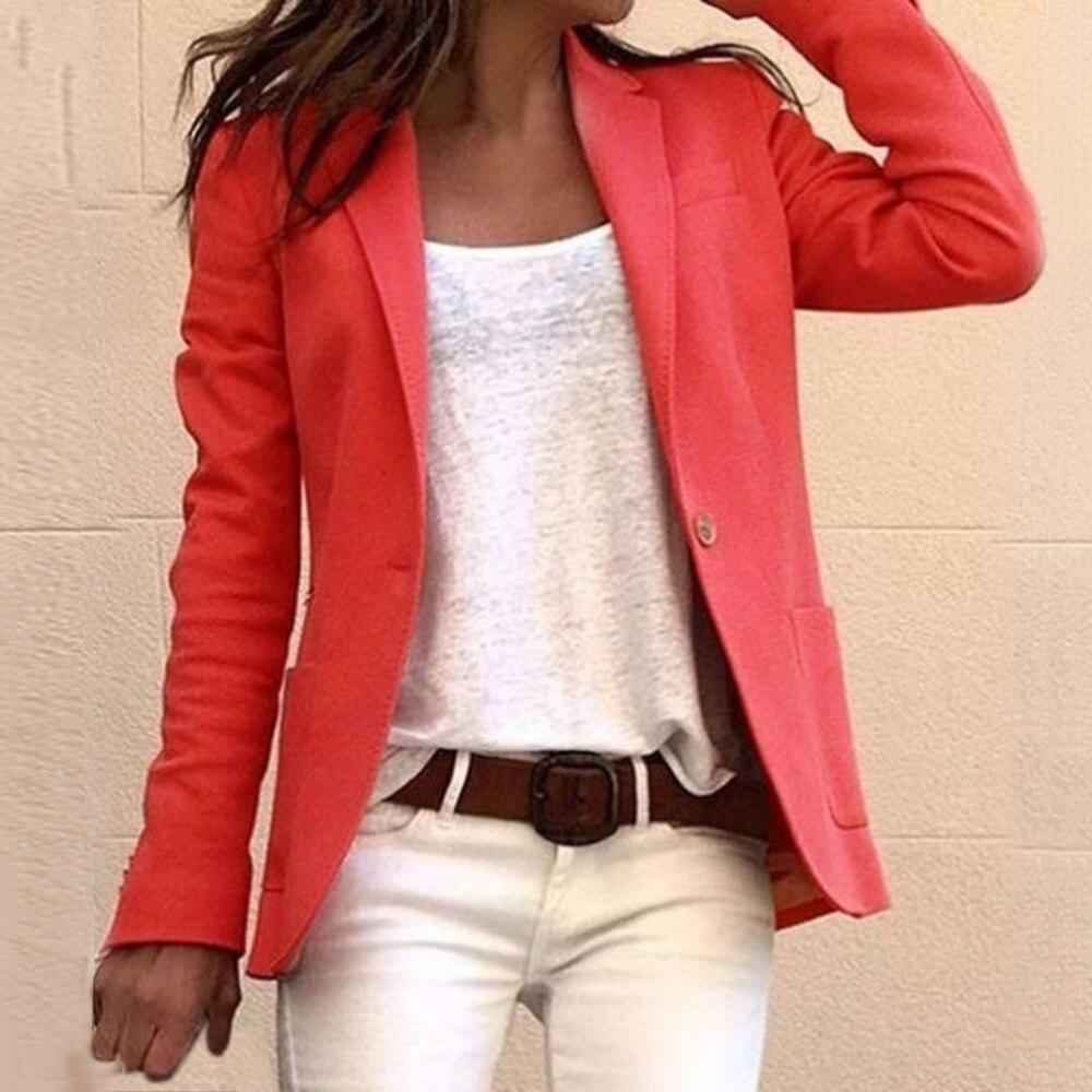 6 Colors Women Slim Office Lady Blazer Long Sleeve Lapel Collar Simple Style Suit Thin Blazers Women Suit Jackets Pink Coat