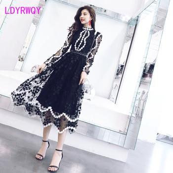 Heavy industry lace embroidery handmade flower net gauze was thin female dress Office Lady Zippers Knee-Length