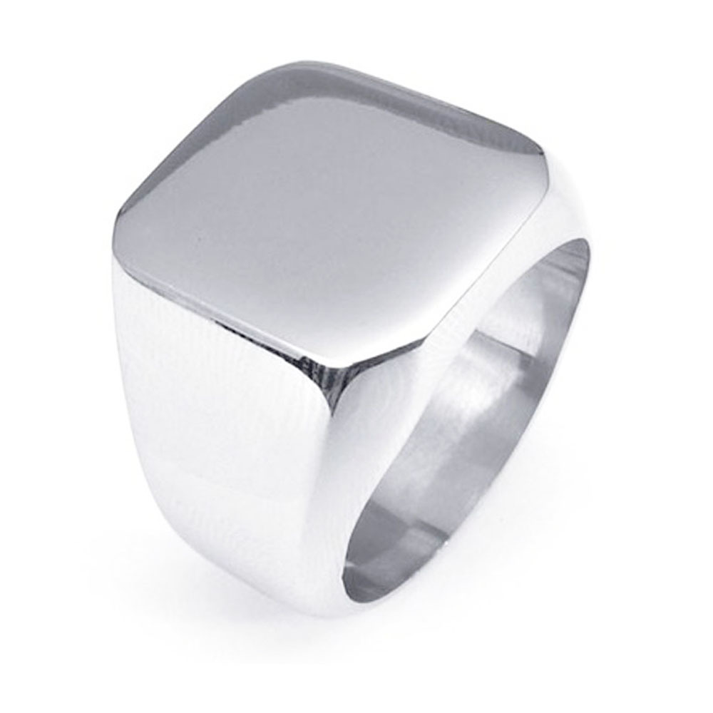 Europe And America Hot Sales Customizable Laser Logo Shiny Side Customizable Class Square Ring
