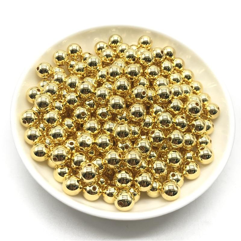 3 4 6 8 10 12 мм 30-500 шт золото/серебро/Пистолет-металлическое покрытие CCB Круглые бусины для изготовления ювелирных изделий DIY - Цвет: 01