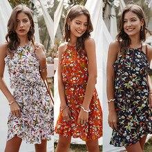 Casual mujer verano Mini vestido señora Vintage Floral impreso camisa de vestir suelto moda Boho mujer ropa Vestidos cortos