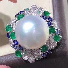 D113 Fine pierścionek z perłą biżuteria 925 Sterling Silver Natural Fresh Water 15 14mm białe Peals pierścionki dla kobiet Fine perły pierścionki