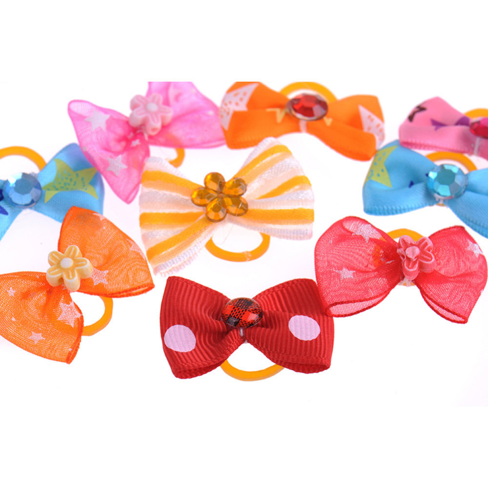 Newest 100Pcs Mixed Color Puppy <font><b>Dog</b></font> Hair Bows Hair Accessorries Bowties for <font><b>Dogs</b></font> <font><b>Dog</b></font> Grooming Bows image