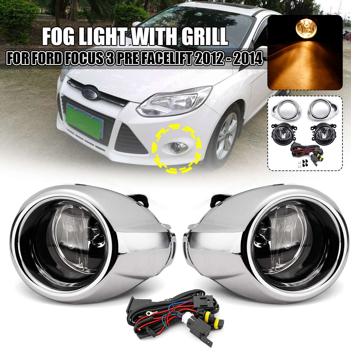 Car Fog Light With Cover For Ford Focus 3 2012 2013 2014 Pre-facelift Fog Light With Chromed Grill With Bulb Wire Switch Styling