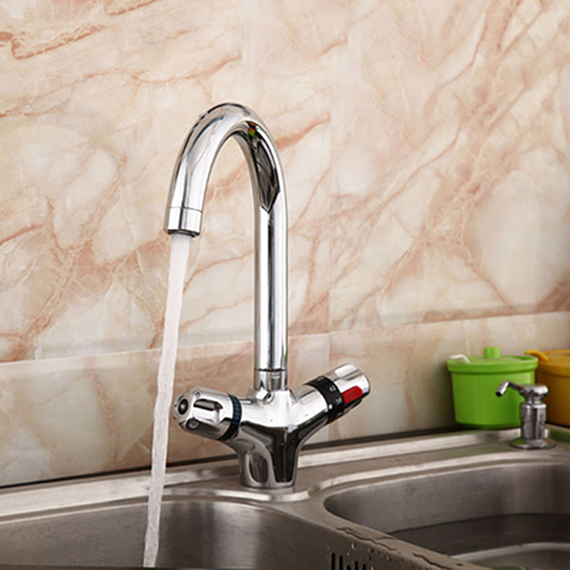 The Higher Thermostatic Faucet The Kitchen Faucet Cold And Hot Water Mixer Short Nose Double Handle Chrome Finish Basin Faucet