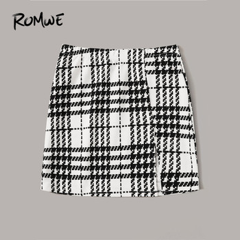 ROMWE Plaid Textured Mini Skirts Womens Spring Fall 2019 Clothes Mid Waist Black Skirt White Skirt A Line Split Hem Korean Skirt 6