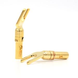 Image 4 - HiFi Nakamichi Audio Grade 8 stücke Schraube Gabel Stecker Adapter, Messing Gold Silber Überzogene Y Spaten Lautsprecher Stecker