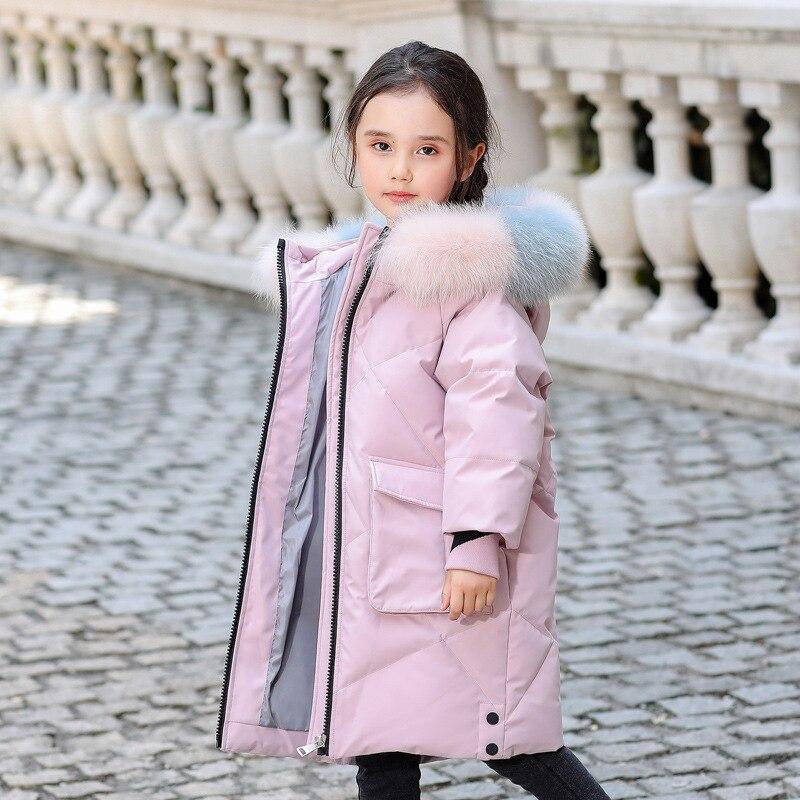 OLEKID 2020 Зимний пуховик для девочек с капюшоном, натуральный мех енота, зимнее пальто для девочек, От 5 до 14 лет, Детская верхняя одежда для дево...
