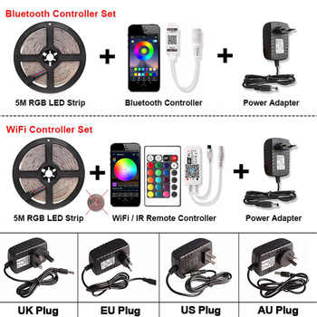 Bluetooth RGB LED Strip WiFi Set 2835 DC 12V Waterproof 5M 60 LEDs/m Flexible Ribbon LED Light Tape + Controller + Power Adapter