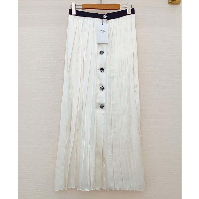 Cosmicchic 2021 Summer Long Skirts Women's Pleated Maxi Skirt White Split Long Skirt Single Breasted Elegant MAXI Skirt Casual