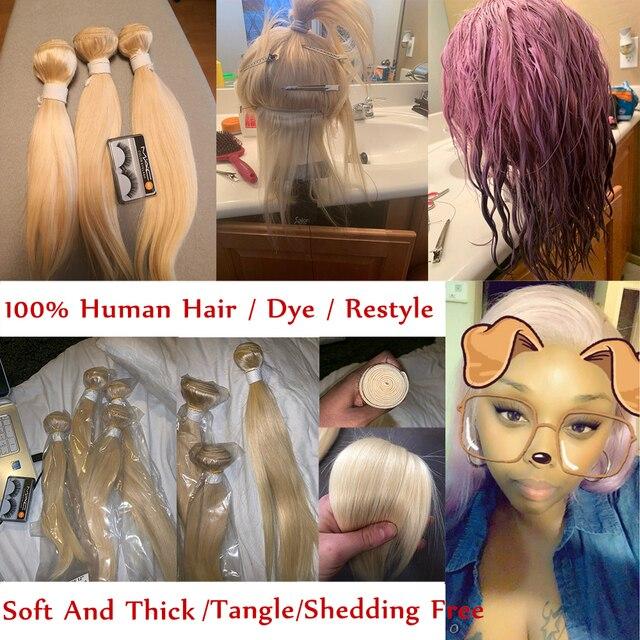 Ombre Platinum Blonde Human Hair Bundles With Lace Closure 5