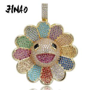 Image 1 - JINAO New Fashion Design MURAKAMI FLOWER Ice Out colorful pendant with 4mm tennis chain Hip Hop Rock Jewelry for man women gift