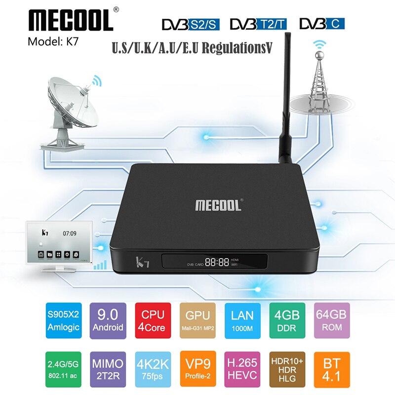 K7 Smart TV Box Android 9.0 DVB-/S2/C Amlogic S905X2  Core 4GB DDR4 64GB 2.4G + 5G Dual WiFi 4K Media Player