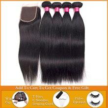 straight hair 3 4 bundles with closure Human Hair Weave bundles with closure Peruvian Brazilian hair weave bundles with closure