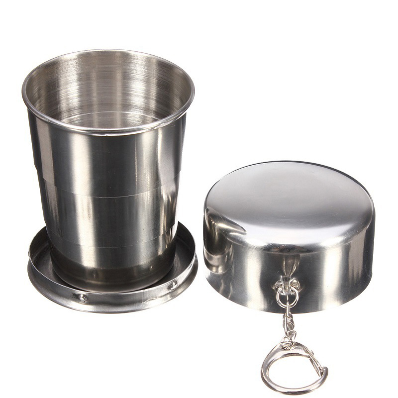 75ml 150ml 250ml Folding Cup Stainless Steel Retractable Collapsible Cups Demountable Portable Outdoor Travel Supplies Keychain 1