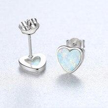 925 Sterling Silver Earrings Heart-Shaped Opal For Women Fashion Simple Temperament Jewelry Ear Studs