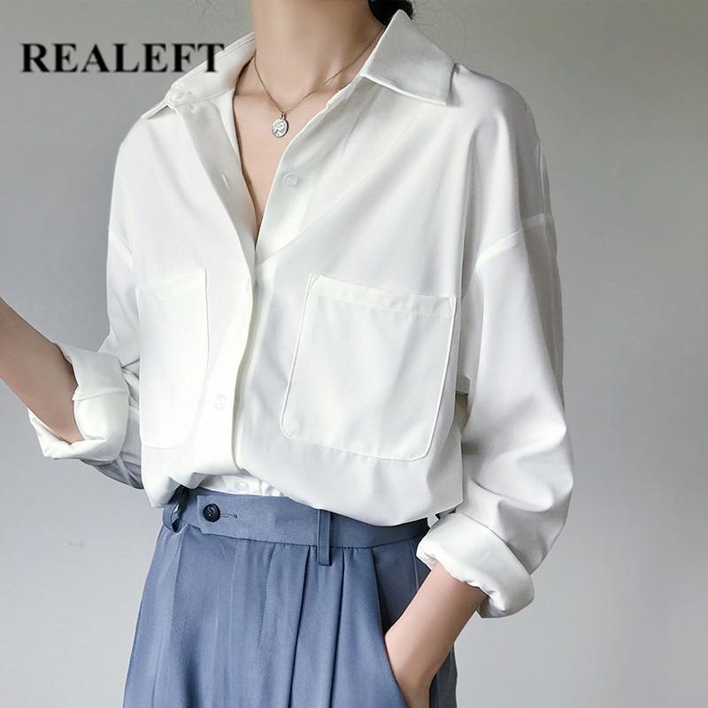 Realeft New 2020 Autumn Pockets White Women's Shirt Female Blouse Tops Long Sleeve Turn-down Collar Ol Style Women Loose Blouses Elegant In Style