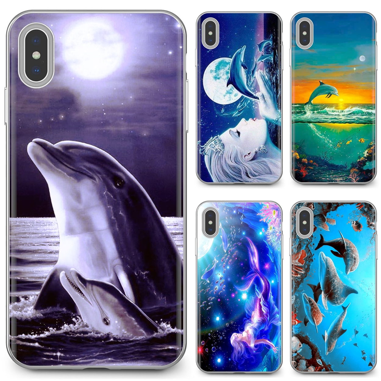 For Samsung Galaxy A3 A5 A7 A9 A8 Star Lite A6 Plus 2018 2015 2016 2017 Buy Silicone Phone Case Dance And Jumping dolphins Water(China)