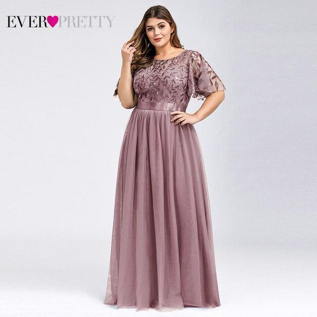Plus Size Sequined Evening Dresses Long Ever Pretty A-Line O-Neck Tulle Elegant Formal Evening Gowns Vestido Noche Elegante 2020 11