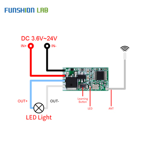 Image 5 - FUNSHION Universal Wireless 433 Mhz DC 3.6V 24V Remote Control Switch 433Mhz 1 CH RF Relay Receiver LED Light Controller DIY Kit