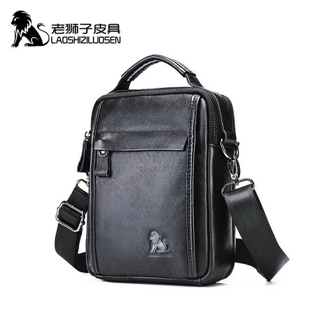 LAOSHIZI جديد حقيقي الخضار جلد الرجال حقيبة الكتف لباد مصغرة 7.9 بوصة عالية الجودة رسول حقائب الذكور حقيبة يد