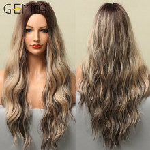 GEMMA Long Body Wave Ombre Black Brown Golden Highlight Wig for Black Women Afro Natural Middle Part Cosplay Synthetic Hair Wigs