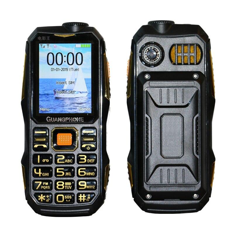 Telefone móvel áspero ao ar livre powerbank grande bateria teclado 3 w tocha dupla sim facebook whatsapp 2.4
