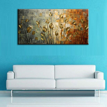 Hand painted oil painting Home decoration Gold Tulips high quality canvas flower knife pictures