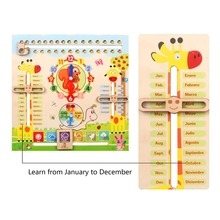 Educational Toys for 3 Year Old, Learning Clock for Kids, All About Today Board, Teaching Time Monthly Calendar, Wooden Toys Mon