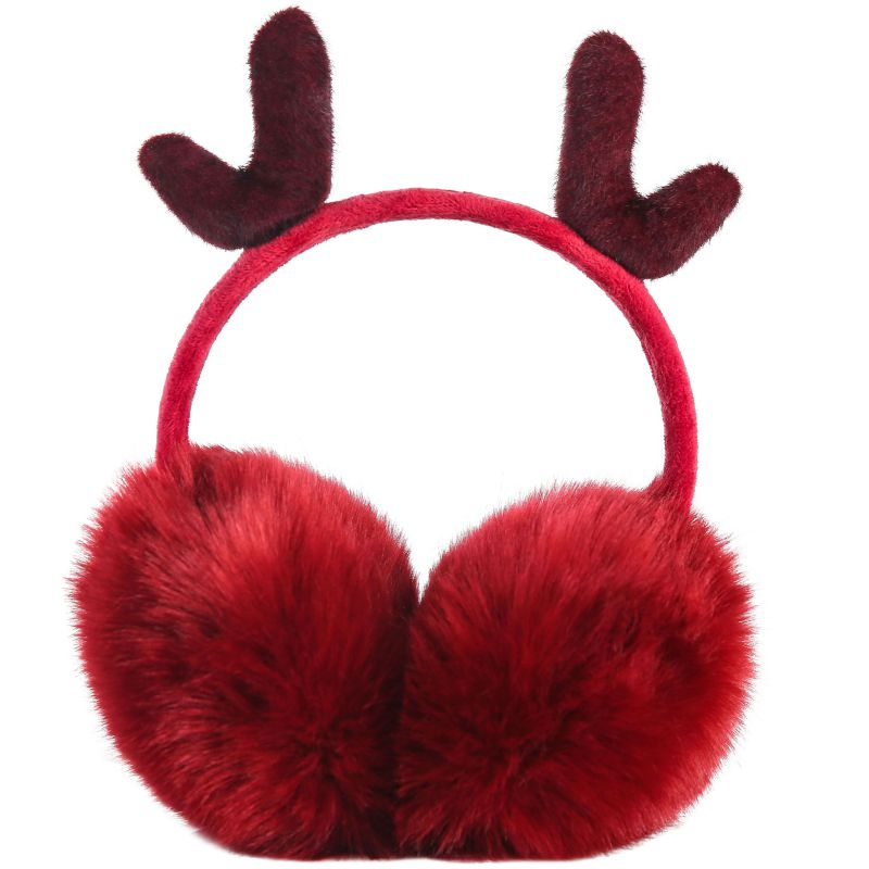 Ear Muffs Christmas Autumn Winter New Earmuffs Cute Plus Velvet Warm Windproof Antler Earmuffs Adjustable Earmuffs Ear Warmer