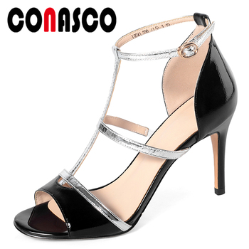 CONASCO T-Tied Women Sandals Genuine Leather Summer New Pumps High Heels Fashion Elegant Sexy Concise Wedding Party Shoes Woman