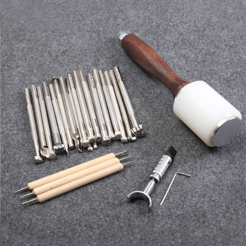 Leather Staming Set Leather Craft Carving Tools for Leather Printing Cutting Knife/Hammer/Leather Swivel Knife/Tool Storage Box