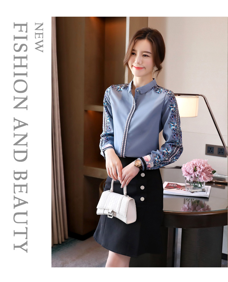 H Han Queen New Office Lady Blusa Vintage Print Tops Simple Elegant Chiffon Women Blouses Korean Chic Long Sleeve Casual Shirts