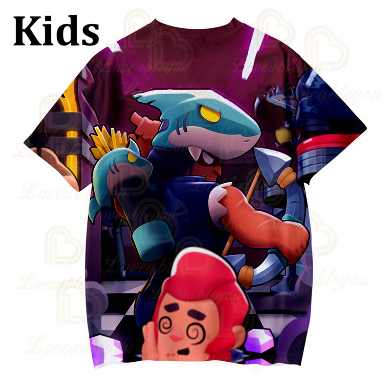 Shark Leon Star Children's Wear Kids T-shirt Shooting Game 3d Shirt Gameing Boys Girls Short Sleeve Tops Tshirt Teen Clothes  - buy with discount