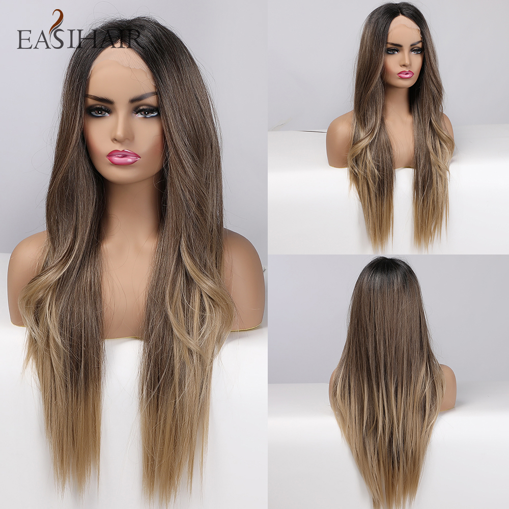 EASIHAIR Black to Brown Ombre Lace Front Synthetic Hair Wigs Long Lace Wigs Women Hair High Density Heat Resistant Cosplay Wigs