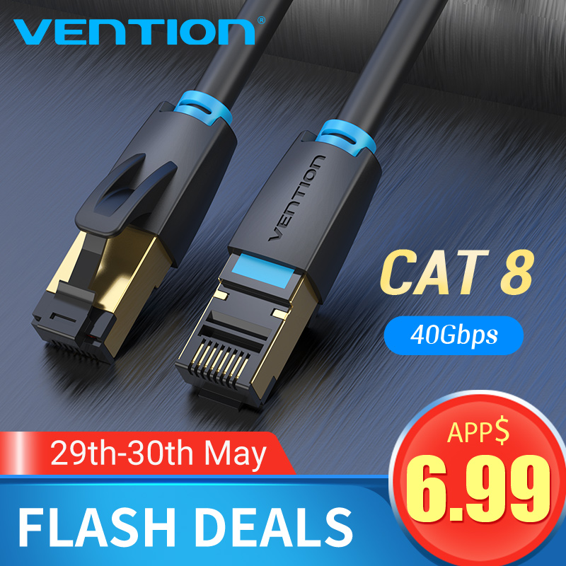 Vention Cat8 Ethernet Cable SSTP 40Gbps Super Speed Cat 8 RJ45 Network Lan Patch Cord For Router Modem For Cat7 Ethernet Cable