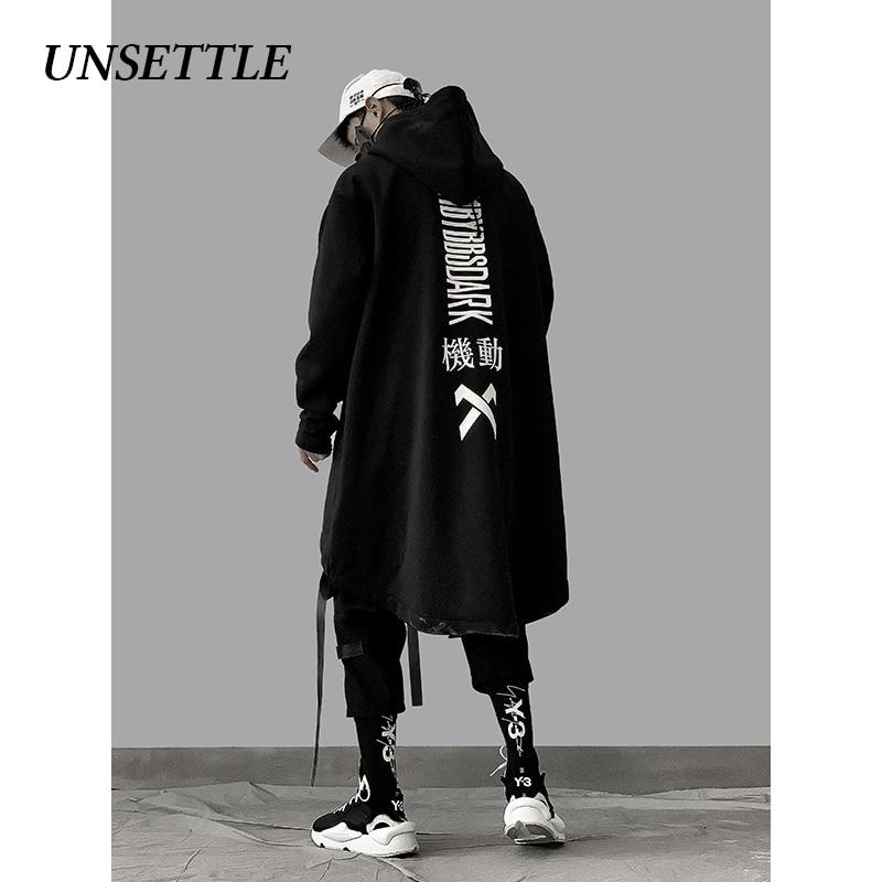 UNSETTLE Japanese Sweatshirt Mens Oversize Hoodies Long Fleece Cloak Hip Hop Outwear Streetwear Coat Harajuku Black Male Tops