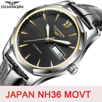 GUANQIN Japan NH36 Movement Men Mechanical Watch Automatic Mens Watches Top Brand Fashion Waterproof Sapphire Relogio Masculino