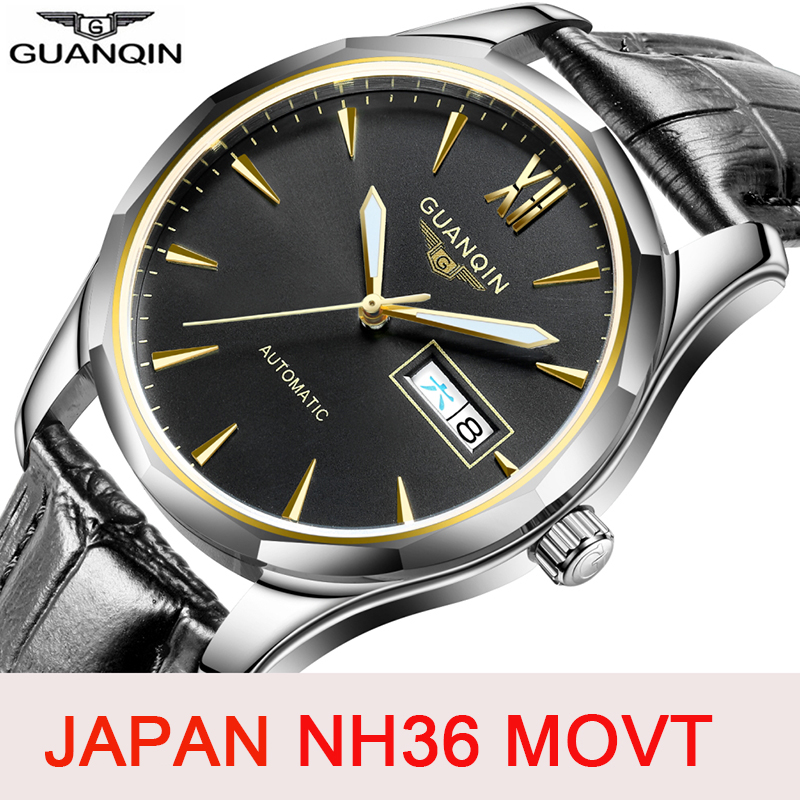 GUANQIN Japan NH36 Movement Men Mechanical Watch Automatic Mens Watches Top Brand Fashion Waterproof Sapphire Relogio Masculino